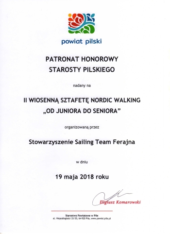 "II Wiosenna Sztafeta Nordic Walking ""Od Juniora do Seniora"""
